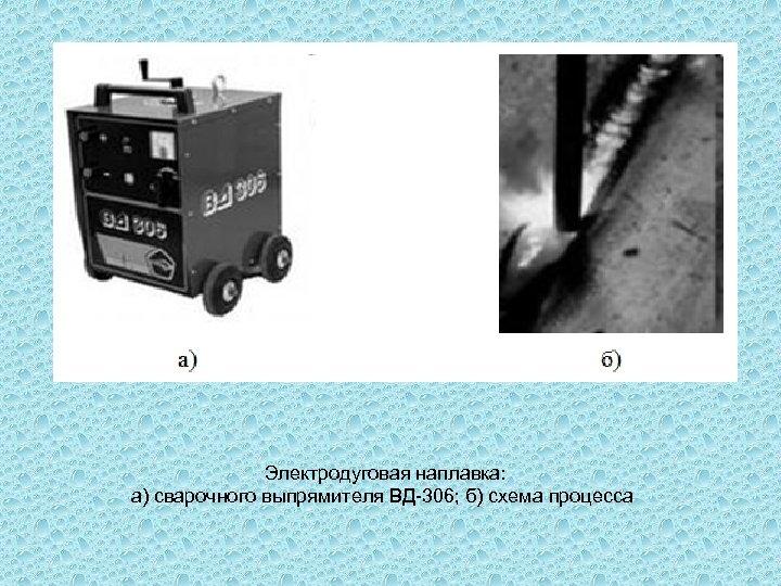 Электродуговая наплавка: а) сварочного выпрямителя ВД-306; б) схема процесса