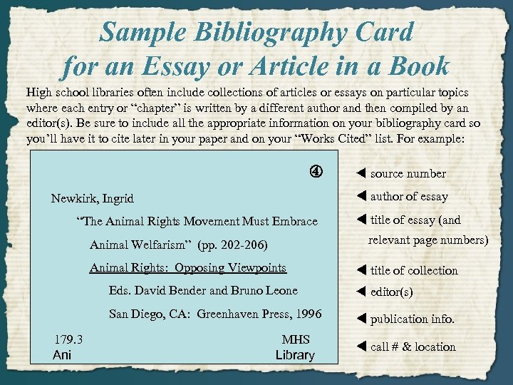 Sample Bibliography Card for an Essay or Article in a Book High school libraries