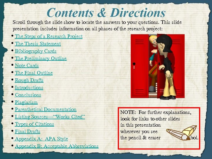 Contents & Directions Scroll through the slide show to locate the answers to your