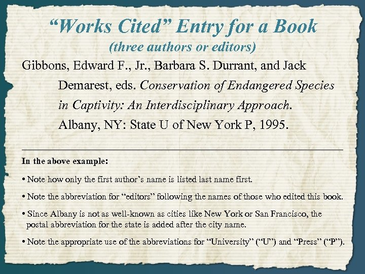 """""""Works Cited"""" Entry for a Book (three authors or editors) Gibbons, Edward F. ,"""