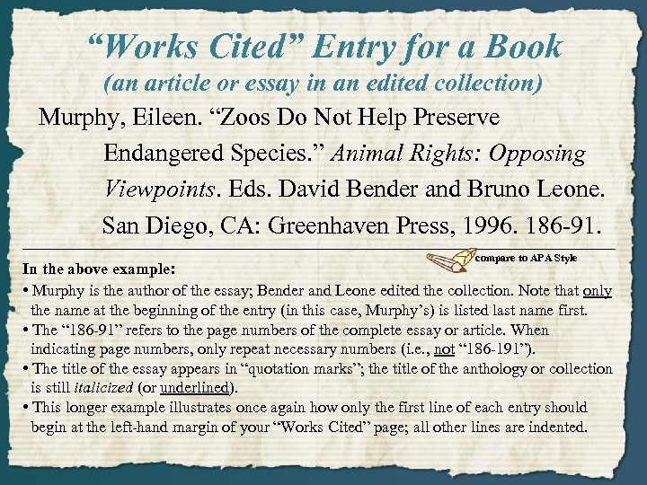 """""""Works Cited"""" Entry for a Book (an article or essay in an edited collection)"""