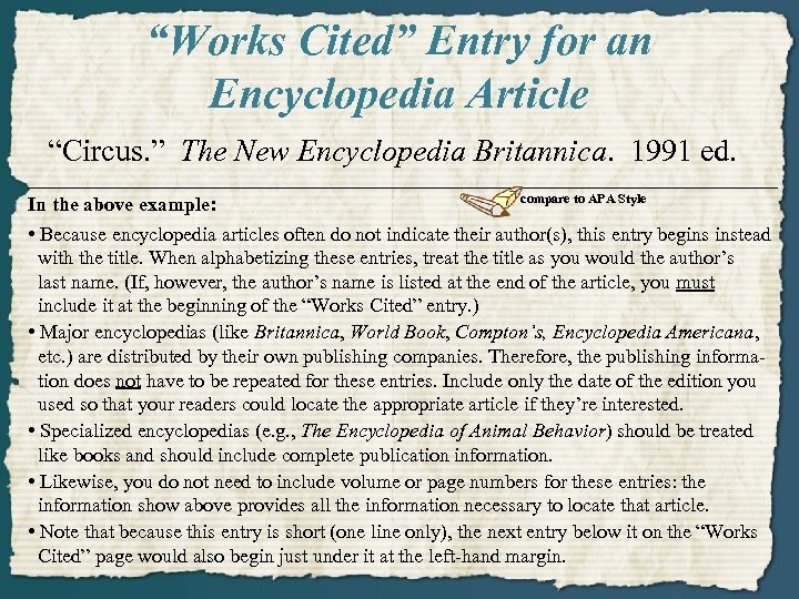 """""""Works Cited"""" Entry for an Encyclopedia Article """"Circus. """" The New Encyclopedia Britannica. 1991"""