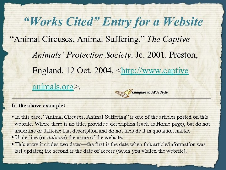 """""""Works Cited"""" Entry for a Website """"Animal Circuses, Animal Suffering. """" The Captive Animals'"""