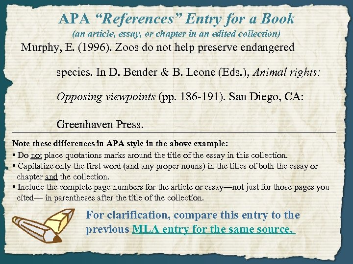 """APA """"References"""" Entry for a Book (an article, essay, or chapter in an edited"""