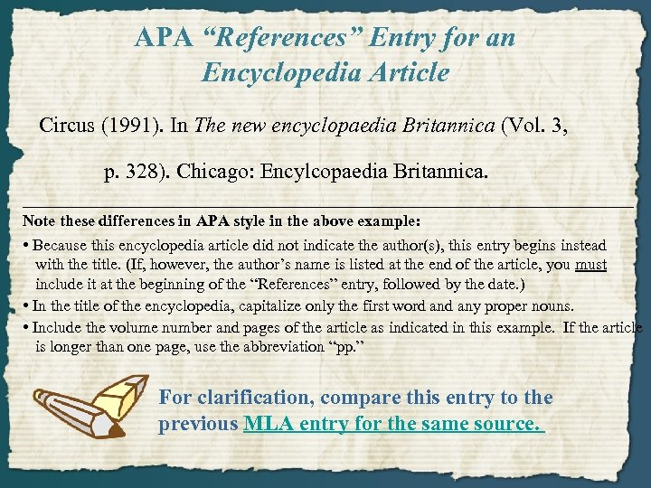 """APA """"References"""" Entry for an Encyclopedia Article Circus (1991). In The new encyclopaedia Britannica"""