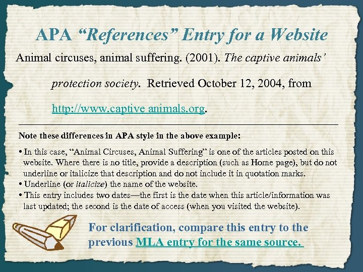 """APA """"References"""" Entry for a Website Animal circuses, animal suffering. (2001). The captive animals'"""