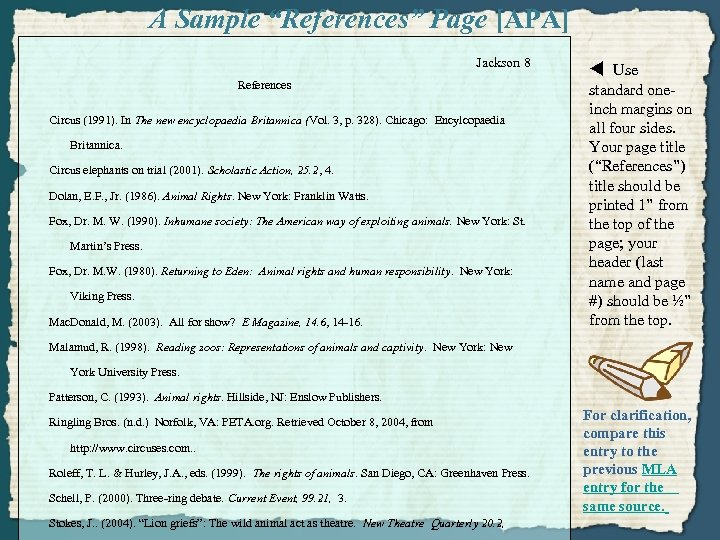 """A Sample """"References"""" Page [APA] Jackson 8 References Circus (1991). In The new encyclopaedia"""
