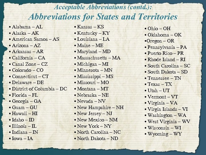 Acceptable Abbreviations (contd. ): Abbreviations for States and Territories • Alabama – AL •