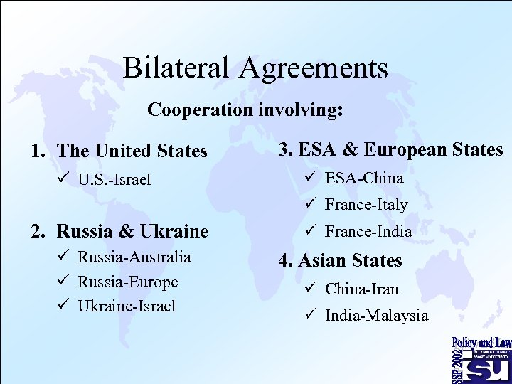 Bilateral Agreements Cooperation involving: 1. The United States ü U. S. -Israel 3. ESA