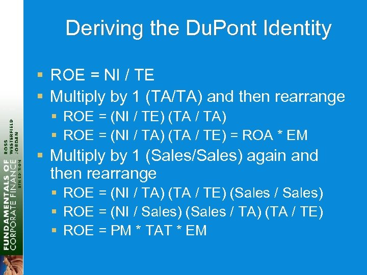 Deriving the Du. Pont Identity § ROE = NI / TE § Multiply by