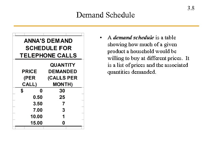 Demand Schedule 3. 8 • A demand schedule is a table showing how much