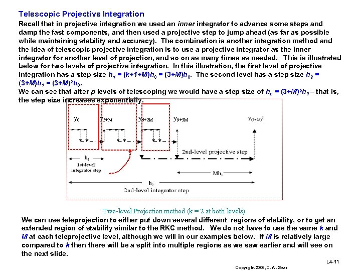 Telescopic Projective Integration Recall that in projective integration we used an inner integrator to