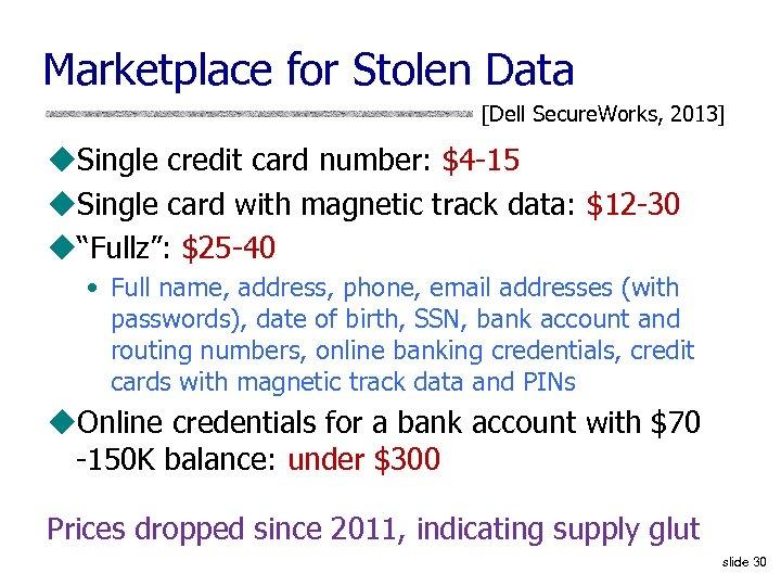 Marketplace for Stolen Data [Dell Secure. Works, 2013] u. Single credit card number: $4