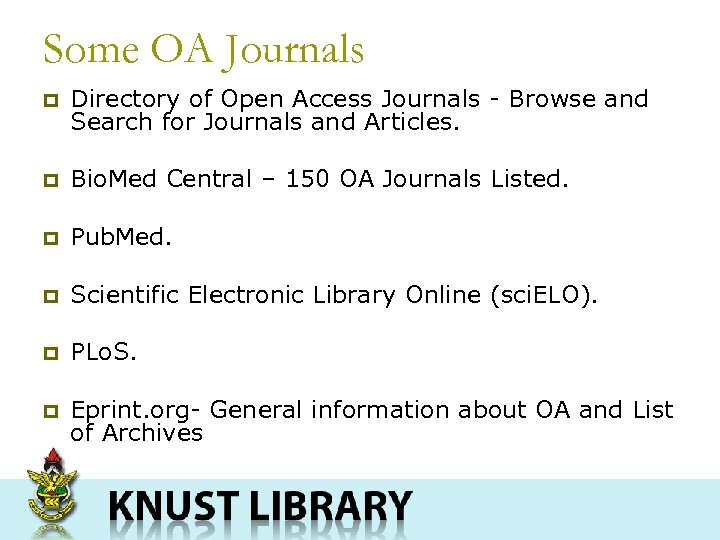 Some OA Journals p Directory of Open Access Journals - Browse and Search for