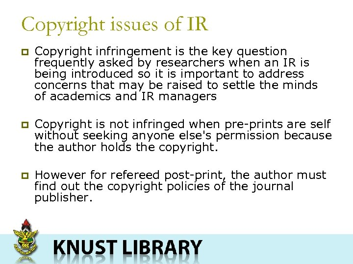 Copyright issues of IR p Copyright infringement is the key question frequently asked by