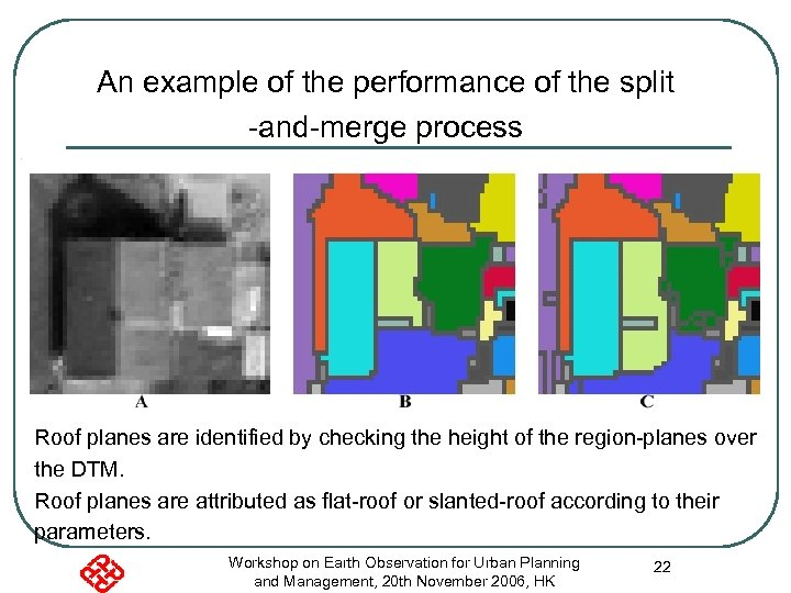 An example of the performance of the split -and-merge process Roof planes are identified