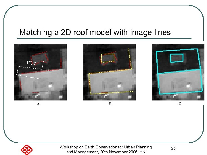 Matching a 2 D roof model with image lines Workshop on Earth Observation for