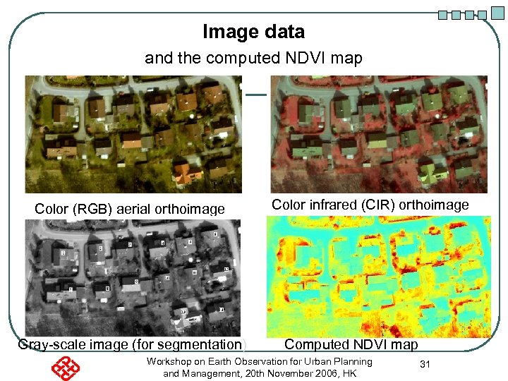 Image data and the computed NDVI map Color (RGB) aerial orthoimage Gray-scale image (for
