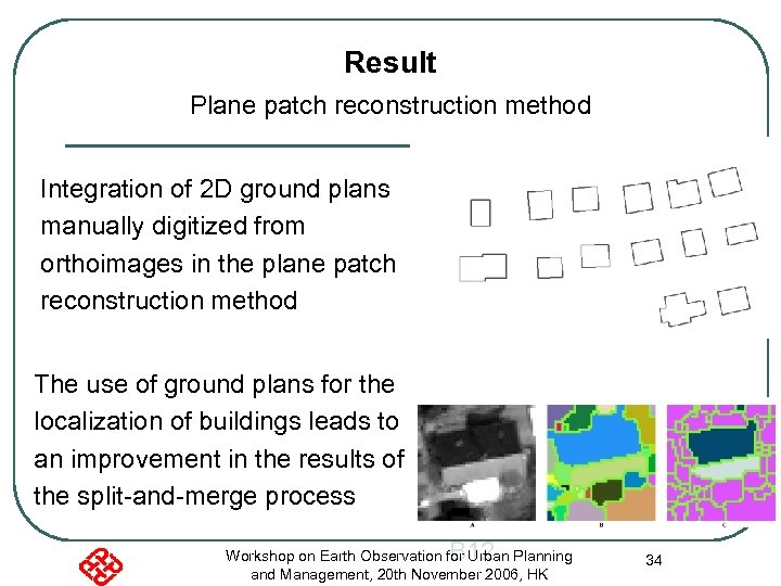 Result Plane patch reconstruction method Integration of 2 D ground plans manually digitized from
