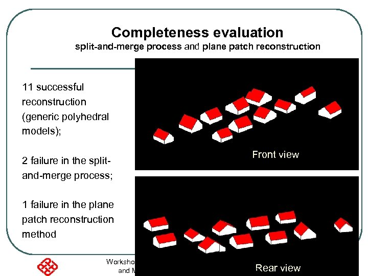 Completeness evaluation split-and-merge process and plane patch reconstruction 11 successful reconstruction (generic polyhedral models);