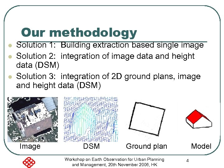 Our methodology l l l Solution 1: Building extraction based single image Solution 2: