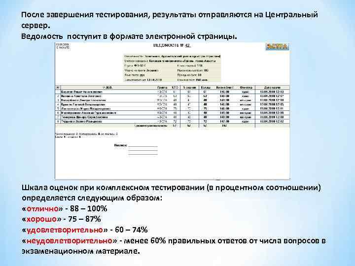 После завершения тестирования, результаты отправляются на Центральный сервер. Ведомость поступит в формате электронной страницы.