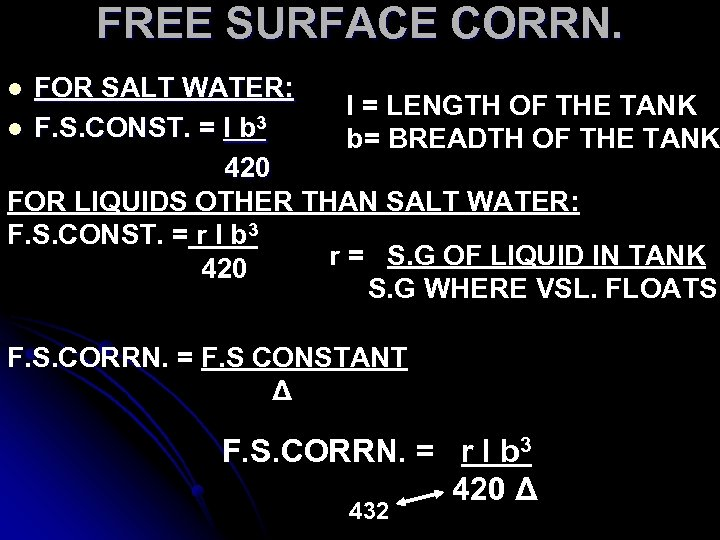 FREE SURFACE CORRN. FOR SALT WATER: l = LENGTH OF THE TANK l F.
