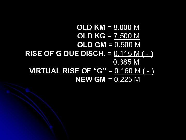 OLD KM = 8. 000 M OLD KG = 7. 500 M OLD GM