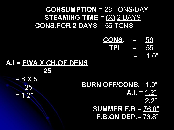 CONSUMPTION = 28 TONS/DAY STEAMING TIME = (X) 2 DAYS CONS. FOR 2 DAYS