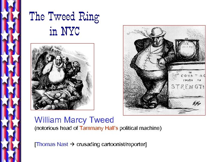 The Tweed Ring in NYC William Marcy Tweed (notorious head of Tammany Hall's political