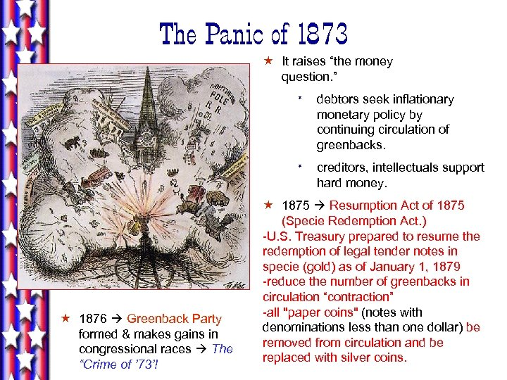 "The Panic of 1873 « It raises ""the money question. "" * * «"