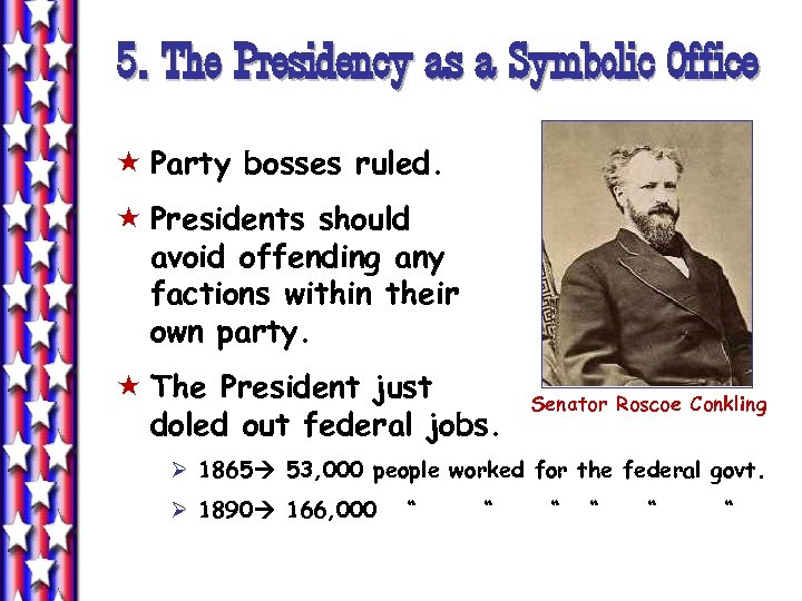 5. The Presidency as a Symbolic Office « Party bosses ruled. « Presidents should