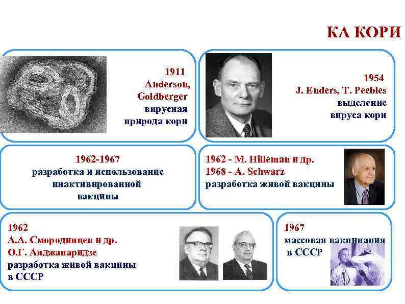 КА КОРИ 1911 Anderson, Goldberger вирусная природа кори 1962 -1967 разработка и использование инактивированной