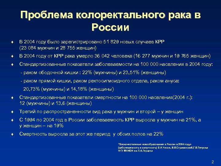 Проблема колоректального рака в России t В 2004 году было зарегистрировано 51 829 новых