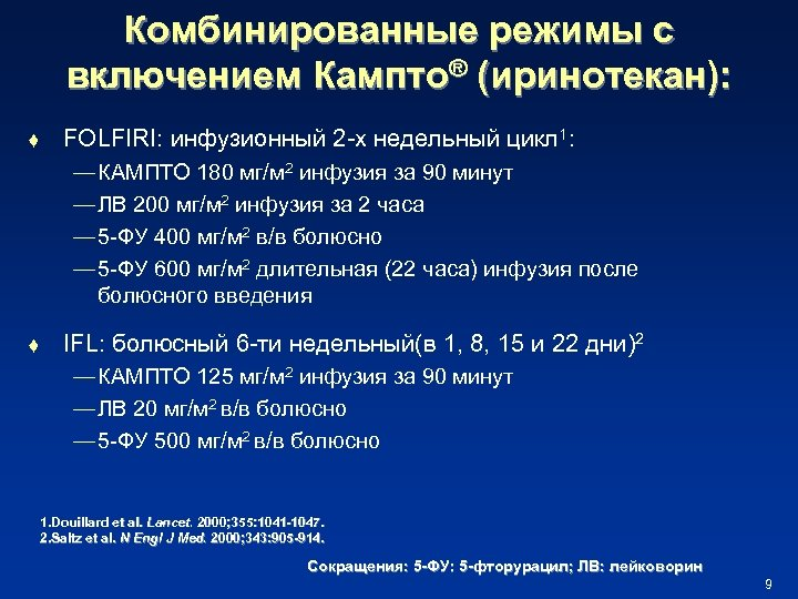 Комбинированные режимы с включением Кампто® (иринотекан): t FOLFIRI: инфузионный 2 -х недельный цикл 1: