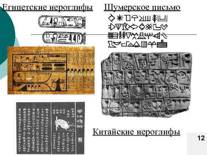 Египетские иероглифы Шумерское письмо Китайские иероглифы 12