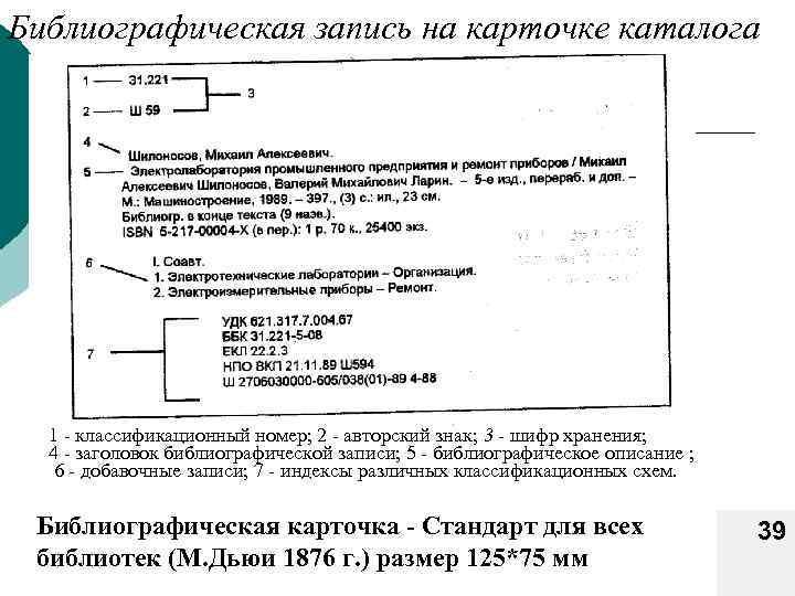 Библиографическая запись на карточке каталога 1 классификационный номер; 2 авторский знак; 3 - шифр