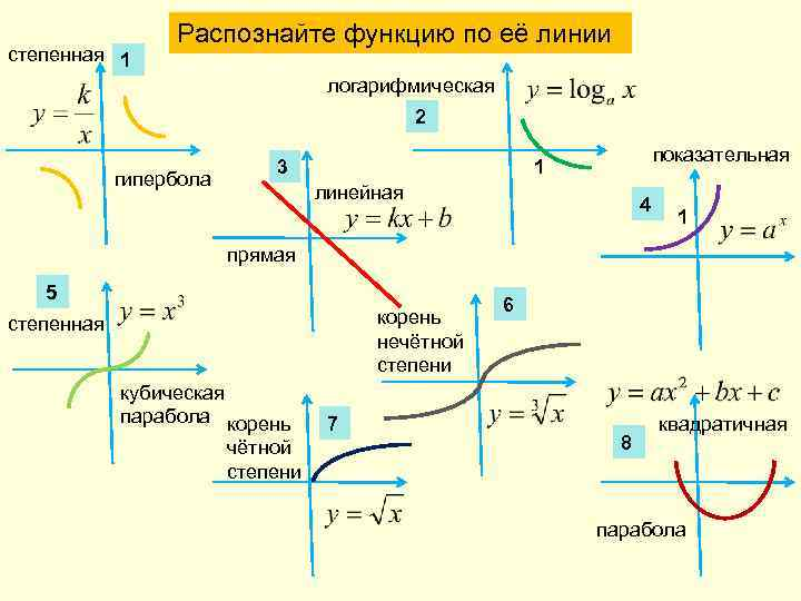 степенная 1 Распознайте функцию по её линии логарифмическая 2 гипербола 3 показательная 1 линейная