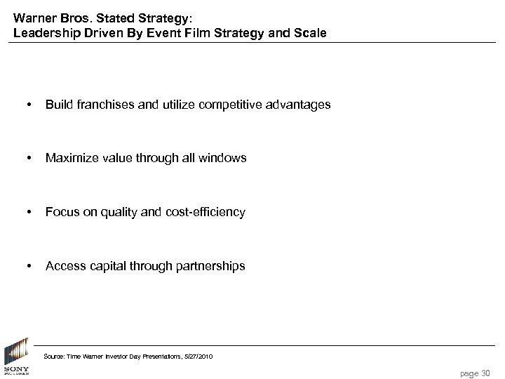 Warner Bros. Stated Strategy: Leadership Driven By Event Film Strategy and Scale • Build