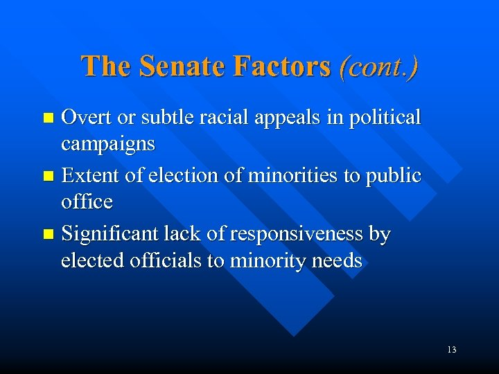 The Senate Factors (cont. ) Overt or subtle racial appeals in political campaigns n