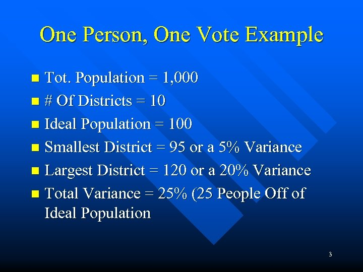 One Person, One Vote Example Tot. Population = 1, 000 n # Of Districts