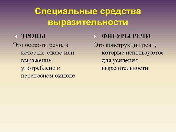 Специальные средства выразительности ТРОПЫ Это обороты речи, в которых слово или выражение употреблено в