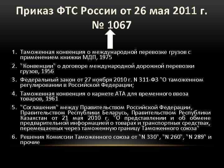 Приказ ФТС России от 26 мая 2011 г. № 1067 1. Таможенная конвенция о