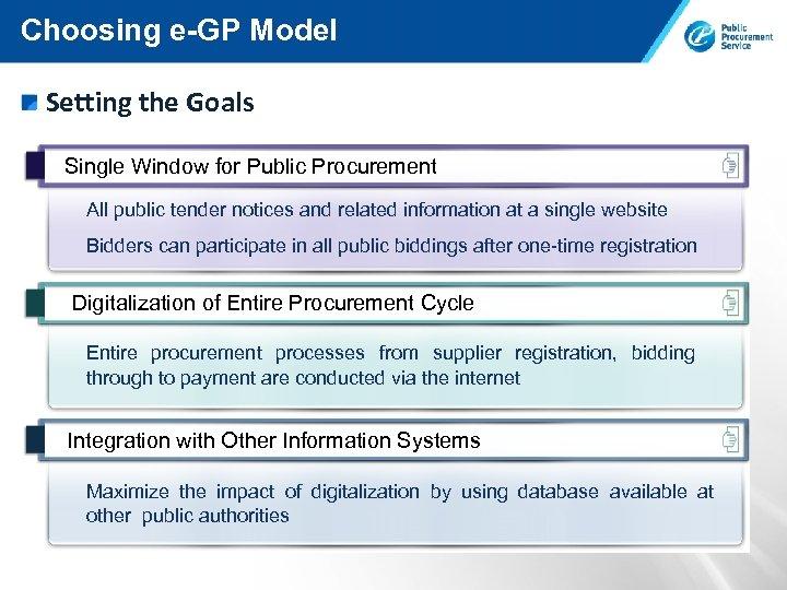 Choosing e-GP Model Setting the Goals Single Window for Public Procurement All public tender