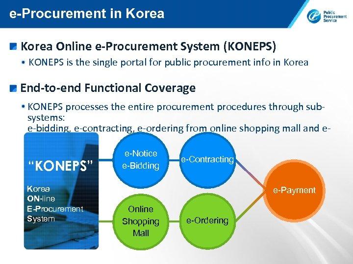 e-Procurement in Korea Online e-Procurement System (KONEPS) KONEPS is the single portal for public