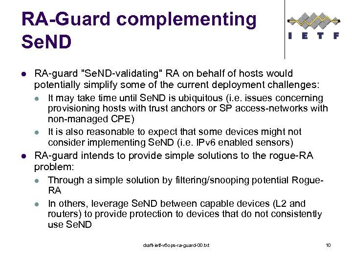 RA-Guard complementing Se. ND l l RA-guard