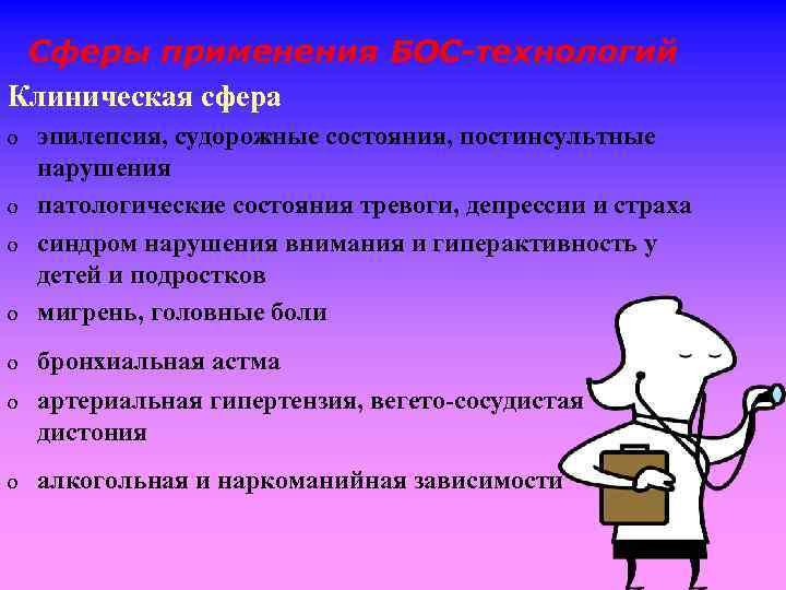Сферы применения БОС-технологий Клиническая сфера o эпилепсия, судорожные состояния, постинсультные нарушения патологические состояния тревоги,