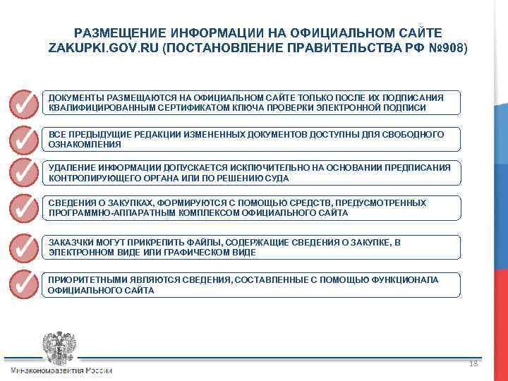 РАЗМЕЩЕНИЕ ИНФОРМАЦИИ НА ОФИЦИАЛЬНОМ САЙТЕ ZAKUPKI. GOV. RU (ПОСТАНОВЛЕНИЕ ПРАВИТЕЛЬСТВА РФ № 908) ДОКУМЕНТЫ