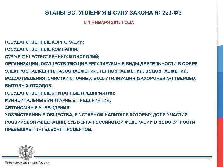 ЭТАПЫ ВСТУПЛЕНИЯ В СИЛУ ЗАКОНА № 223 -ФЗ С 1 ЯНВАРЯ 2012 ГОДА ГОСУДАРСТВЕННЫЕ