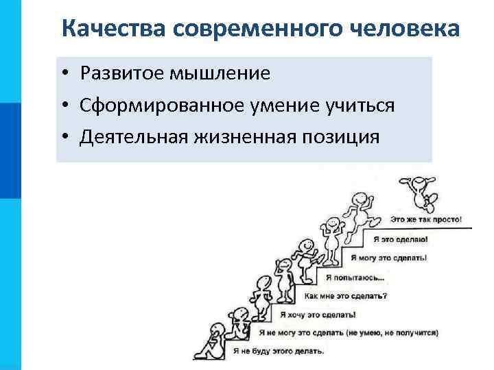 Качества современного человека • Развитое мышление • Сформированное умение учиться • Деятельная жизненная позиция